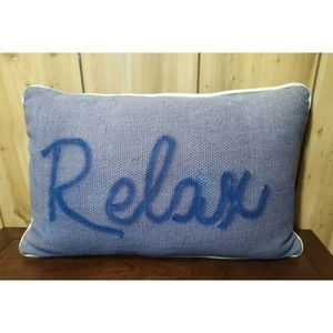 """Relax"" Pillow•Handpainted•Two's Co Designed in NY"